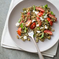 Easy bulgur salad recipe with tomatoes, basil, feta and a fresh pesto recipe made with fresh basil leaves.