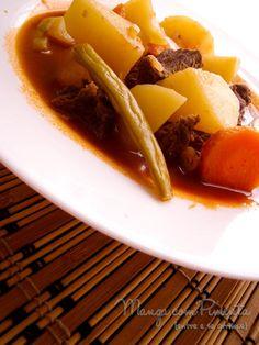 O conforto: Carne de Panela com molho de tomate e legumes - Manga com Pimenta. Clique na imagem para ver a receita no site.