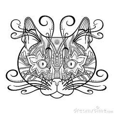 Gato Decorativo Tribal Del Vector Ilustración del Vector - Imagen ...