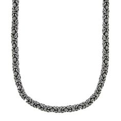 "Stainless Steel Byzantine Necklace - Men, Size: 18"", Grey"