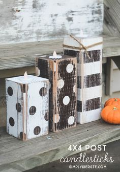 Adorable, easy, and inexpensive--these darling DIY striped & polka dot candlesticks are perfect for your Thanksgiving table and fall decor!