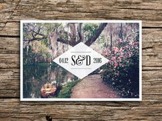 Weve paired a beautiful vintage image of magnolia / cypress gardens with elegant typography to create a perfect save the date for your southern