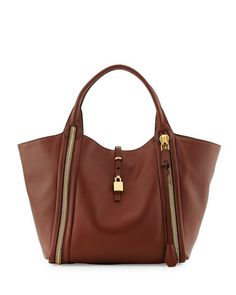 Amber Double-Zip Leather Tote Bag, Brown by Tom Ford at Bergdorf Goodman.