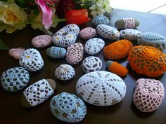 Crochet Covered Beach Stonesgifthome decor by MyDreamCrochets, $150.00