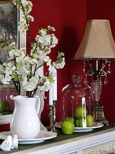 Flowers in a pitcher and a Tall Glass Dome covering green apples...lovely.  http://store.willowhouse.com/search.aspx?keyword=dome