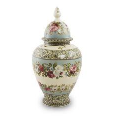 Porcelain Cremation Urn - Filigree Floral