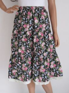 Vintage 1970s Black & Pink Rose Print 1950s Style Gypsy Skirt available to buy online at Virtual Vintage Clothing £25