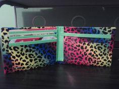 Rainbow leopard duct tape wallet