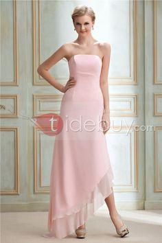 Elegante Vestido de Dama de Honor Silueta Línea A/Princesa sin Tirantes Largo al Piso Dasha's (Envío Gratuito)
