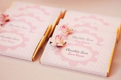 pretty in pink prima ballerina birthday party for grace candy bars embellished with tiny flowers
