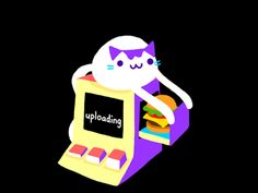 I drew this cat uploading a burger gif for giphy a while ago.   Cuz giphy now allows gif uploads on their site! :) http://giphy.com/posts/how-to-upload-gifs-to-giphy