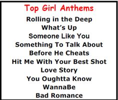 Kareoke songs for girls