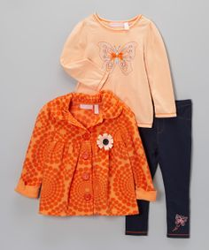 Orange Fleece Swing Jacket Set - Infant, Toddler & Girls