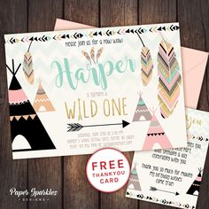 WILD ONE design... Available in 3 colour schemes  comes with FREE Thank You card design! Customised to your details