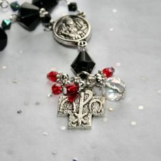 » Mini Rosary Crystal Prayer Bracelet w Silver Cross Charm – Adjustable
