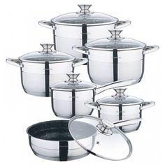 Klausberg 7364 pannenset – 12 delig – RVS – Alle warmtebronnen | Blokker Induction Cookware, Stainless Steel Pans, Steamer Recipes, Pot Sets, Cookware Set, Rvs, Products, Home, Cookware
