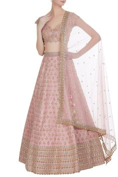 Millennial pink gold gota patti lehenga by Anushree Reddy. Click on image to see price. #Frugal2Fab