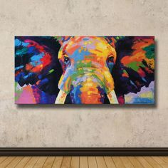 Colorful Elephant Painting ,40cm(H) x 80cm(W) by SumareeART on Etsy https://www.etsy.com/listing/286199559/colorful-elephant-painting-40cmh-x-80cmw
