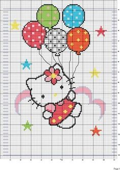 Hello kitty with balloons Cross Stitch For Kids, Cross Stitch Baby, Cross Stitch Charts, Cross Stitch Patterns, Pixel Crochet, Crochet Cross, Baby Embroidery, Cross Stitch Embroidery, Hello Kitty Crochet