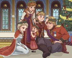 Royal Family Holiday. Artist nightliight believes that Anna's second attempt at love is much more successful than her first, and the princess of Arendelle lives happily ever after with Kristoff and raises their kids in a normal, healthy way. Definitely not locking them in a room or giving them to rock trolls.