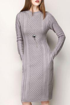 Jacquard Long Sleeve Sweater Dress