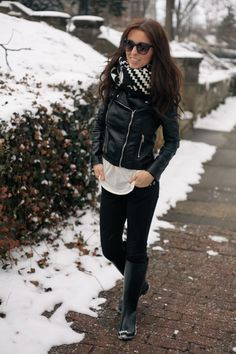 Cute black motto jacket, scarf and black boots <3