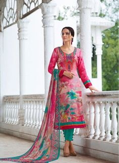 Casual Hot Pink and Sea Green Faux Georgette Pant Style Salwar Suit