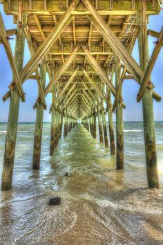 The Surf City Pier, located on Topsail Island, North Carolina, looks like a temple going out into the sea.