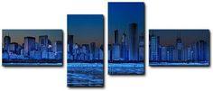 Quadro moderno 4 pz stampa su tela cm 176x74 quadri XXL arte Skyline chicago