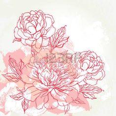 aquarelle: Belle conception de pivoine bouquet sur fond beige. Tiré par la main illustration vectorielle.