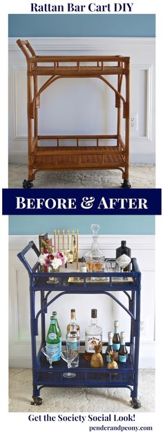 Rattan Bar Cart DIY- get the Society Social look for a charming and colorful bar cart perfect for entertaining