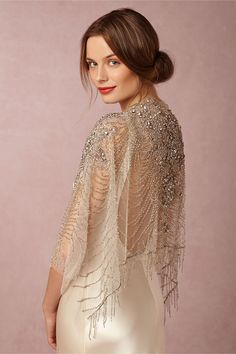 """Ursa"" beaded wrap/ embelllished sheer tulle shawl from Carol Hannah // Sun-Kissed Glamour: BHLDN's Spring II Collection Bridal Bolero, Bridal Cape, Bridal Gowns, Wedding Gowns, Beaded Bolero Wedding, Wedding Cape, Wedding Dress Sleeves, Long Sleeve Wedding, Wedding Dress Capelet"