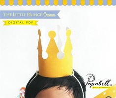 Crown Printable for The Little Prince Birthday Party. Instant Download. DIY Royal Prince / princess / King crown for Royal Birthday. Digital