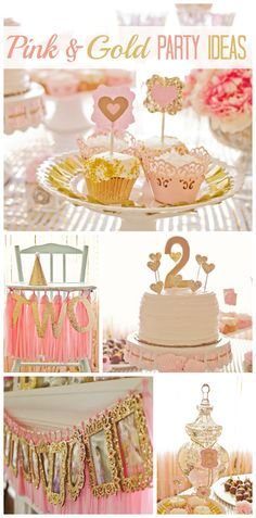 A sophisticated and girlie 2nd birthday party decorated in pink and gold with a lovely photo display!  See more party ideas at CatchMyParty.com!