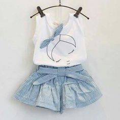 Sotida Girls Clothing Sets 2017 Brand Summer Fashion Kids Clothing Sets Sleeveless White T-shirt+Plaid Culottes Girls Suit Girls Summer Outfits, Baby Outfits, Sport Outfits, Cute Outfits, Summer Clothes, Summer Girls, Girls Dresses, Outfits 2016, Formal Outfits