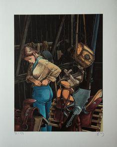 Affiche signée de François Bourgeon : Les Passagers du vent - La Petite Fille Bois Caïman