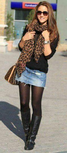 outfit casual con falda de mezclilla