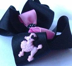 Girl hair bow Poodle Skirt Halloween Black pink by CreateAlley, $8.99