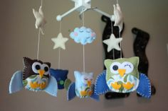 """Who wants to buy this for Grey? Pretty sure he needs it ;)   Baby Crib Mobile - Baby Mobile - Owl Mobile - Nursery Baby Mobile """"Five little owls Matching your Room""""(you can pick your colors). $78.00, via Etsy."""