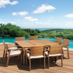 Have to have it. Amazonia Deerfield Eucalyptus Square Patio Dining Set - Seats 8 - $2265.6 @hayneedle