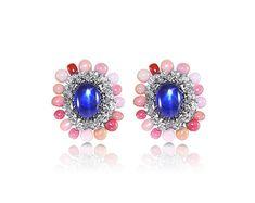 18K ~15cts Star Sapphire Diamond Conch Pearl Earrings