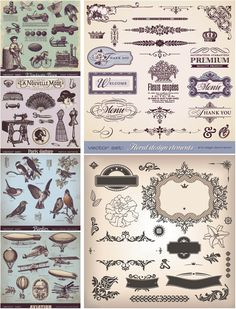 Decorative vintage elements and illustrations free vector!!!!