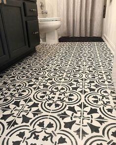Bathroom floor makeover using Cutting Edge Stencils DIY tile stencil patterns Bohemian Bathroom, Art Deco Bathroom, Diy Bathroom, Wooden Bathroom, Bathroom Floor Tiles, Bathroom Ideas, Bathroom Layout, Bathroom Designs, Master Bathroom