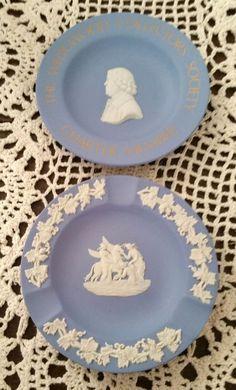 "WEDGWOOD JASPERWARE 2pc Charter member & ashtray 4.5"" blue plates MINT ESTATE #B #Wedgwood"