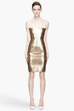 Dsquared2 Gold Lame Stretch Jersey Strapless Dress for women | SSENSE