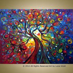 Original Modern Trees Landscape Whimsical XLarge Painting 40x30 ENGAGED COUPLE by Luiza Vizoli