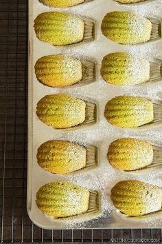 Delicate and soft classic French cookies flavored with matcha powder, these Green Tea Madeleines make the most delightful sweet treat. Invite your friends over and enjoy with Japanese tea like sencha, hojicha, or genmaicha. #desserts #asianrecipes #matcha #asiandessert #madeleinesrecipe | Easy Japanese Recipes at JustOneCookbook.com Tea Recipes, Baking Recipes, Cookie Recipes, Dessert Recipes, Baking Pan, Malt Loaf, Easy Japanese Recipes, Japanese Food, Japanese Bakery