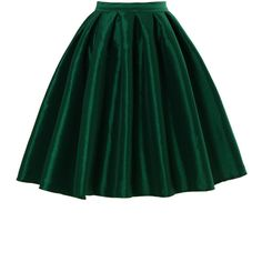Chicwish Green A-line Midi Skirt ($35) ❤ liked on Polyvore featuring skirts, bottoms, green, a-line skirt, knee length pleated skirt, calf length skirts, high waisted skirts and knee length a line skirt