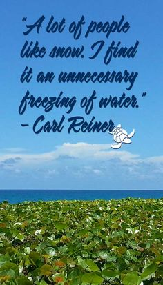 """""""A lot of people like snow. I find it an unnecessary freezing of water."""" - Carl Reiner"""