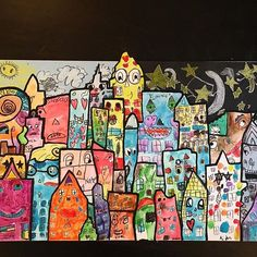 """This is Otis school auction art project I did with his class. Because they were studying Nyc and Brooklyn I chose to have them do some paintings inspired by Brooklyn born pop artist James Rizzi.  They drew and painted buildings and the background for day and night and I cut them out and arranged them like JAmes Rizzi's """" Skyscraper"""" painting onto a wood panel.  #kidsart #artwithkids #motherhood #ps118mauricesendakcommunityschool #brooklynkids"""